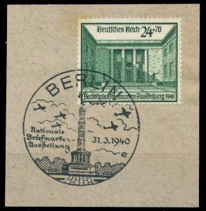 DEUTSCHES REICH 1940 Nr 743 zentrisch gestempelt Briefst³ck 8B023E