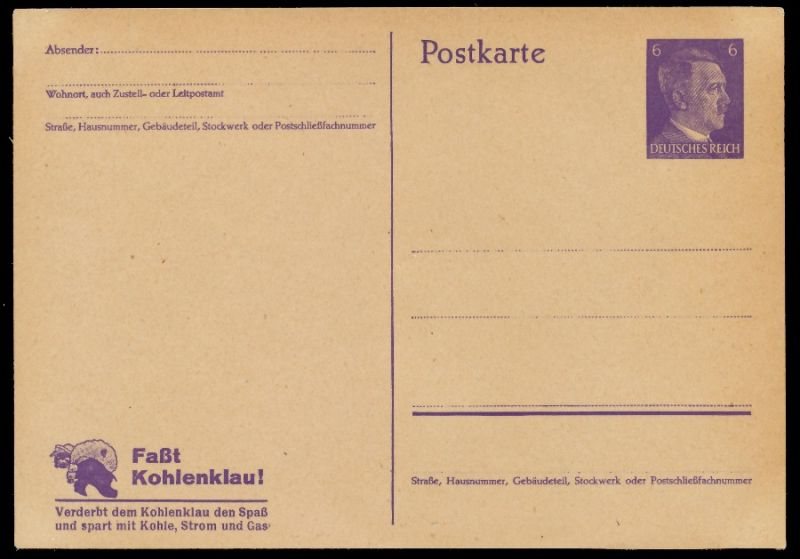 DEUTSCHES REICH Nr P312-01 UNGEBRAUCHT POSTKART 8CC676