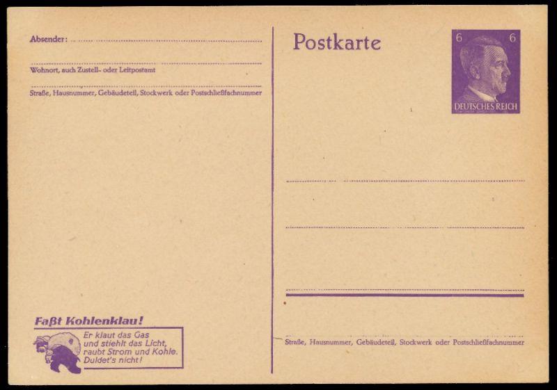 DEUTSCHES REICH Nr P312-02 UNGEBRAUCHT POSTKART S902F6E