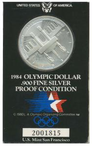 1984 OLYMPIC DOLLAR 900 FINE SILVER PROOF 9206E6