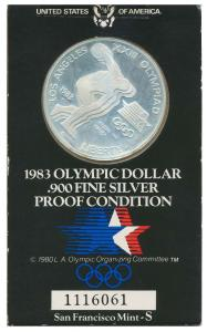1983 OLYMPIC DOLLAR 900 FINE SILVER PROOF 9206EA