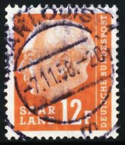SAAR OPD 1957 Nr 414 zentrisch gestempelt 5FA1F2