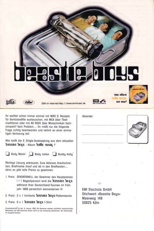Memorabilia Beastie Boys Hello Nasty German Promo Sticker