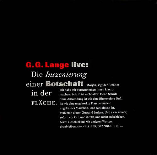LP - Lange, G.G. Live: Die Inszenierung Einer Botschaft In Der Fl