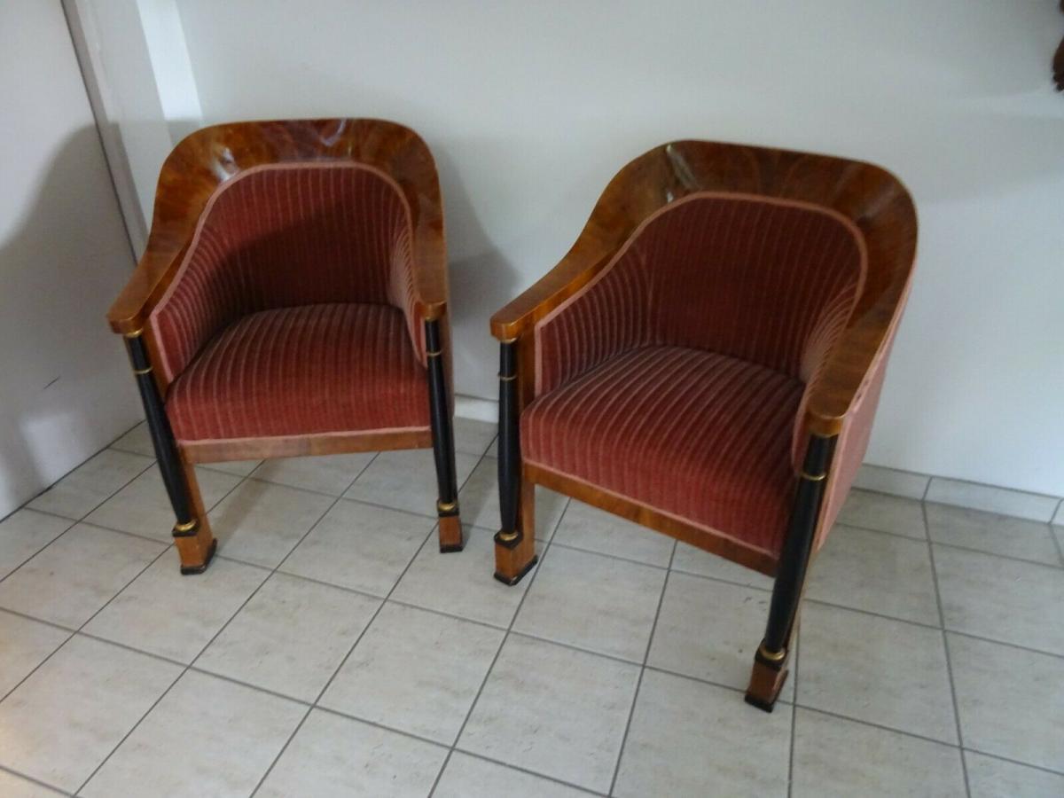 Ein Paar sehr ausgefallene Biedermeier Armlehnstühle 0