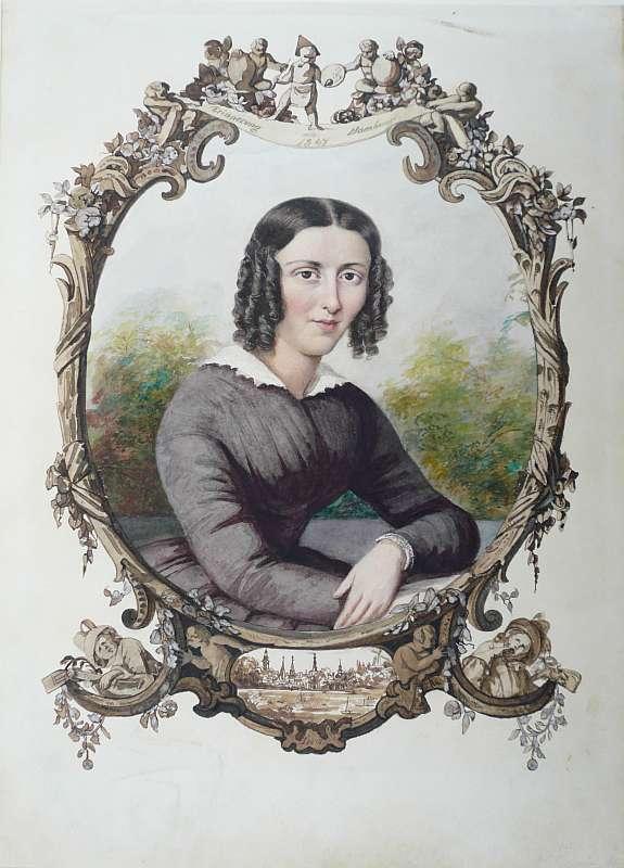 Hamburger Maler Mitte 19. Jahrhundert,, Portrait einer jungen Frau. Aquarell, mit Silber gehöht 0