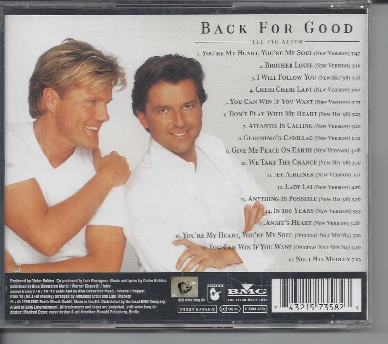 Modern Talking, Back for good, CD 1