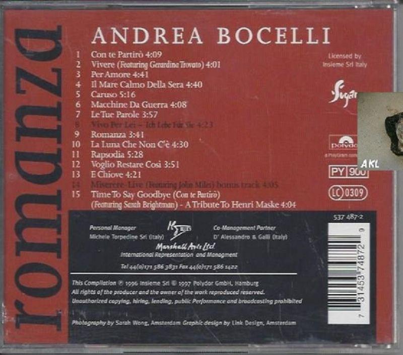 Andrea Borcelli, romanza, CD 1
