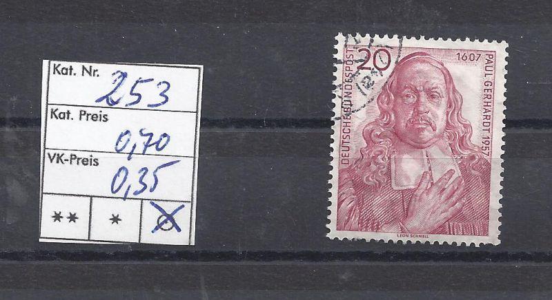 Mi. Nr. 253, BRD, 1957, Gedenkmarke zum 350. Geburtstag von Paul Gerhardt