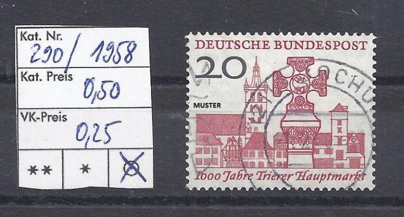 Mi. Nr. 290, BRD, 1958, 1000 Jahre Hauptmarkt von Trier, Einzelmarke