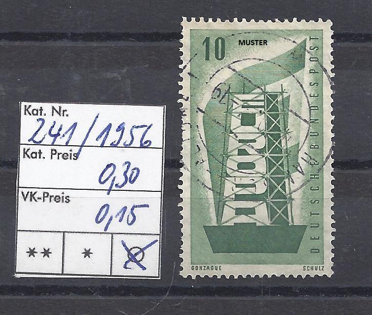 Mi. Nr. 241, BRD, 1956, Europamarke, Einzelmarke, grün