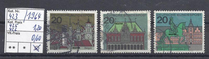 Mi. Nr. 423, 425, 426, BRD, 1964, 3 Einzelmarken, Städte