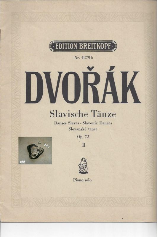 Dvorak, Slavische Tänze, Op. 72 II, Piano solo, Edition Nr. 4279b