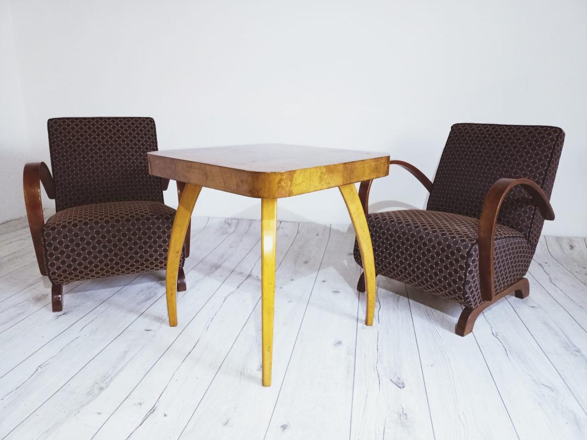 Halabala-Set Sessel, Couchtisch, Esszimmerstühle und Tisch 0