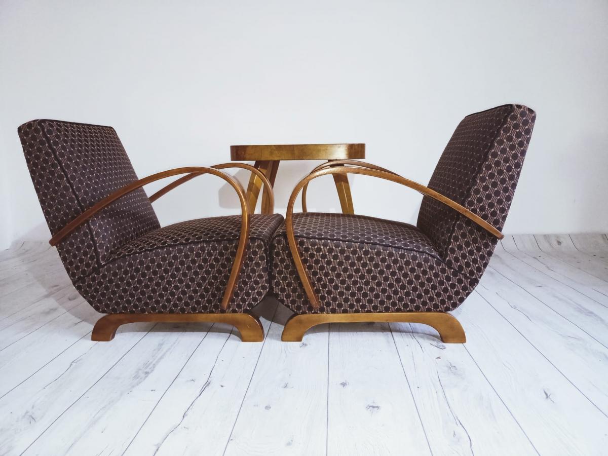 Halabala-Set Sessel, Couchtisch, Esszimmerstühle und Tisch 1