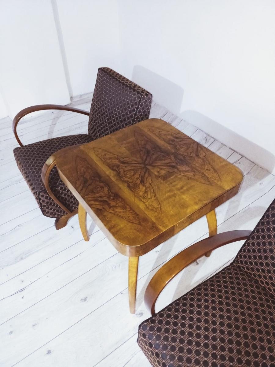 Halabala-Set Sessel, Couchtisch, Esszimmerstühle und Tisch 2