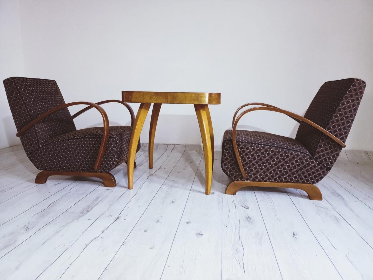 Halabala-Set Sessel, Couchtisch, Esszimmerstühle und Tisch 4