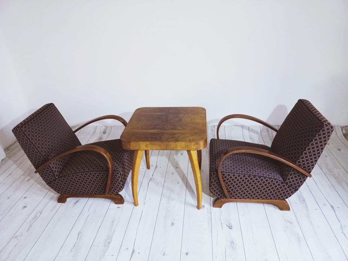 Halabala-Set Sessel, Couchtisch, Esszimmerstühle und Tisch 5