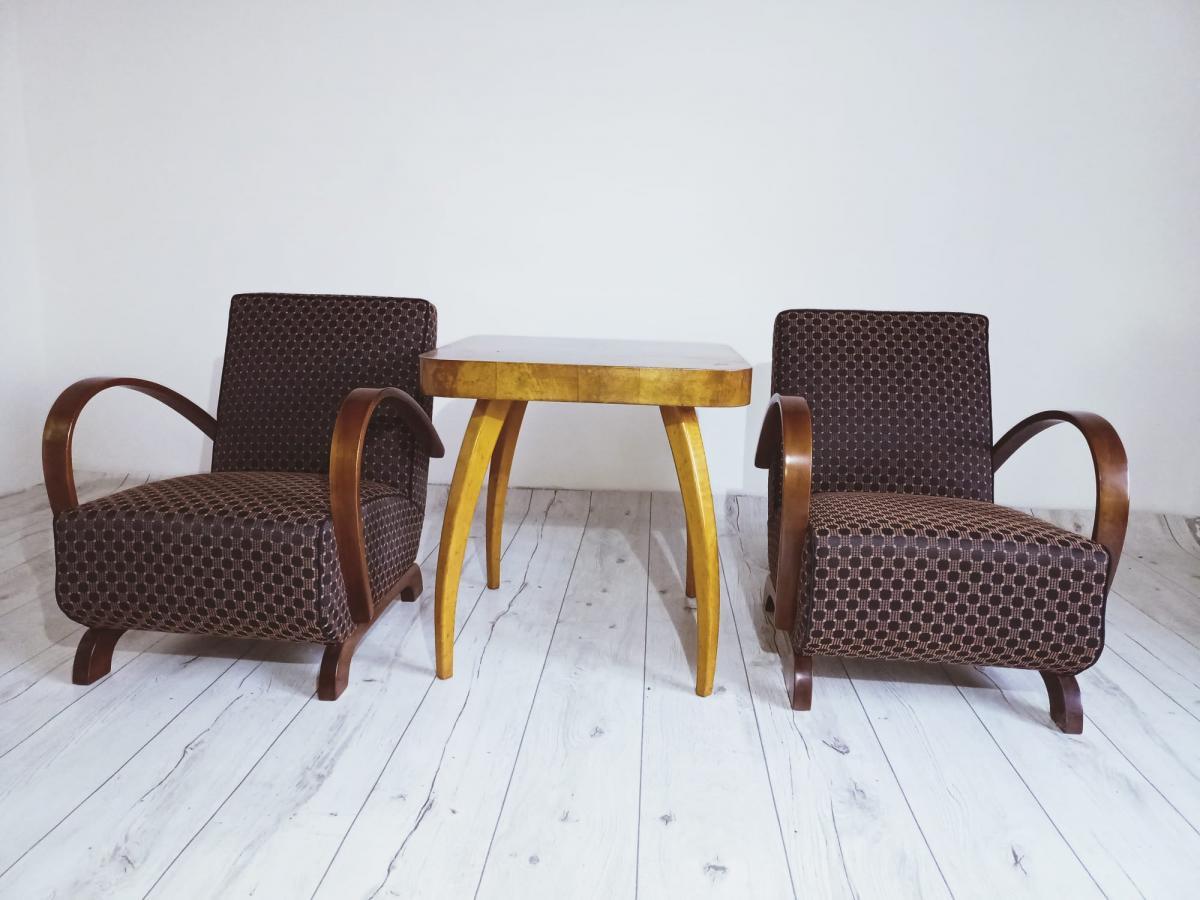 Halabala-Set Sessel, Couchtisch, Esszimmerstühle und Tisch 6