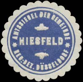 Amtssiegel der Gemeinde Hiesfeld Reg. Bez. Düsseldorf