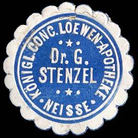 Königliche Conc. Loewen - Apotheke Dr. G. Stenzel - Neiße