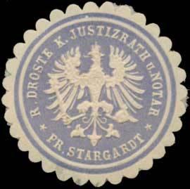 R. Droste K. Justizrath und Notar Pr. Stargardt