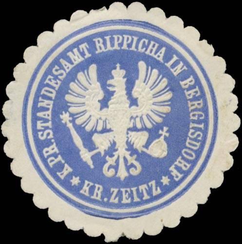K.Pr. Standesamt Rippicha in Bergisdorf Kreis Zeitz