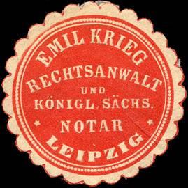 Emil Krieg Rechtsanwalt und Königlich Sächsischer Notar - Leipzig
