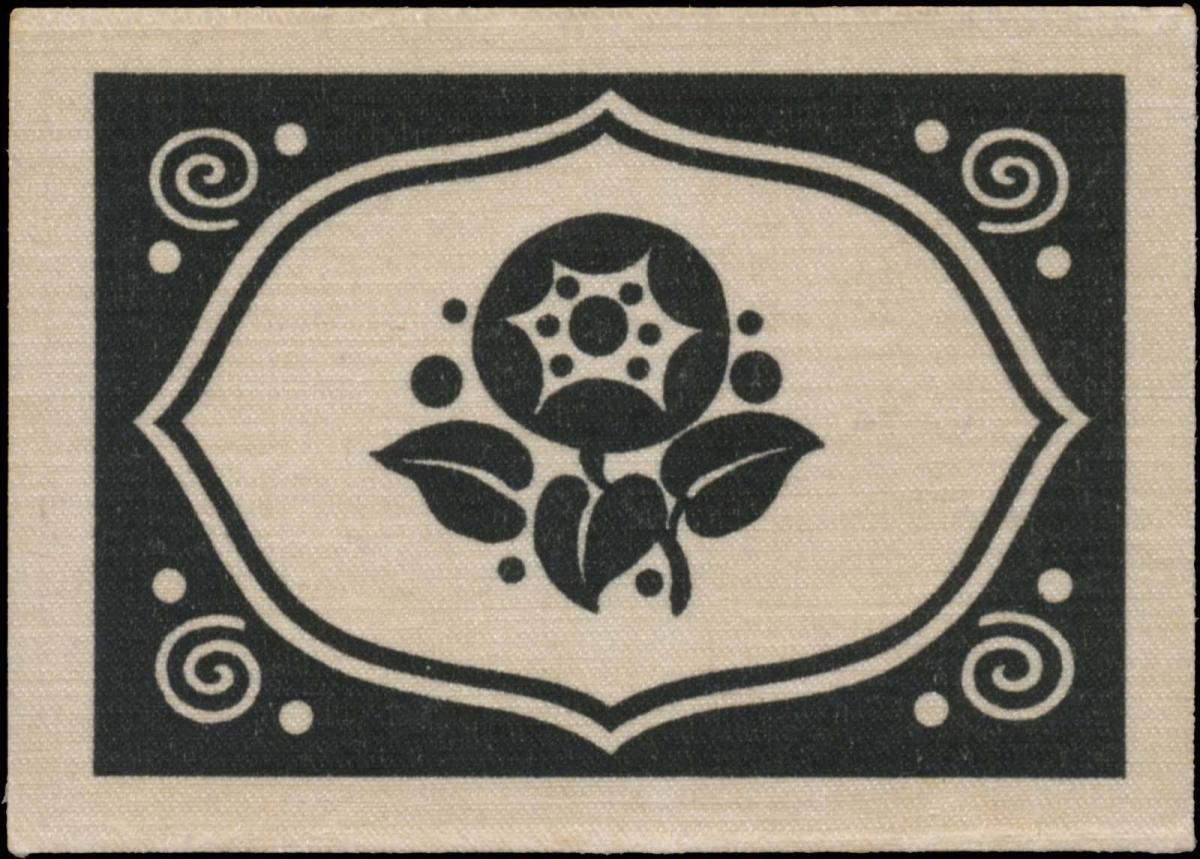 Textil-Reklamemarke mit Blumenmuster