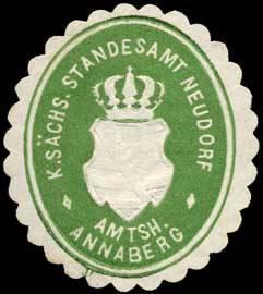 Königlich Sächsisches Standesamt Neudorf - Amtshauptmannschaft Annaberg