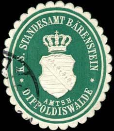 Königlich Sächsisches Standesamt Bärenstein - Amtsh. Dippoldiswalde