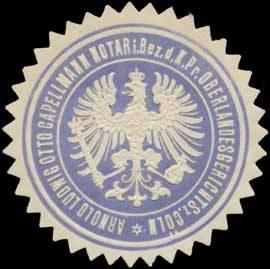 Arnold Ludwig Otto Capellmann, Notar im Bezirk des K.Pr. Oberlandesgerichts zu Cöln