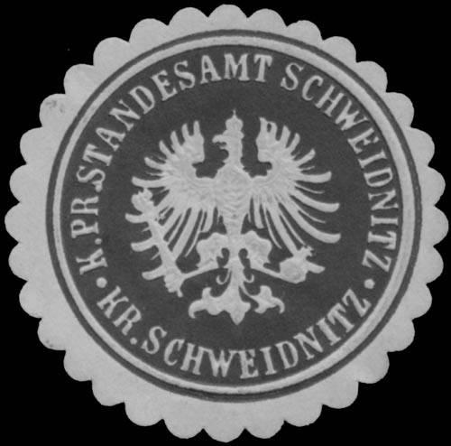 K.Pr. Standesamt Schweidnitz/Schlesien