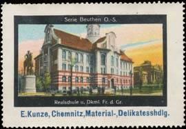 Realschule und Denkmal Friedrich des Großen in Beuthen Oberschlesien