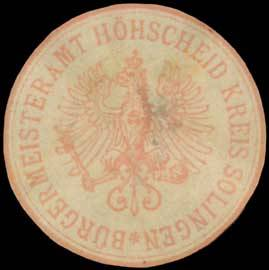 Bürgermeister-Amt Höhscheid Kreis Solingen