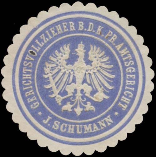 J. Schumann Gerichtsvollzieher b.d. K.Pr. Amtsgericht