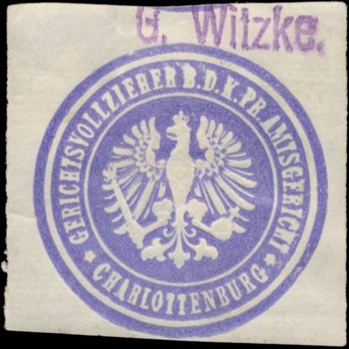 G. Witzke Gerichtsvollzieher b.d. K.Pr. Amtsgericht Charlottenburg