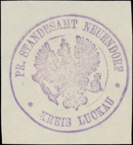 Pr. Standesamt Neuendorf Kreis Luckau/Lausitz