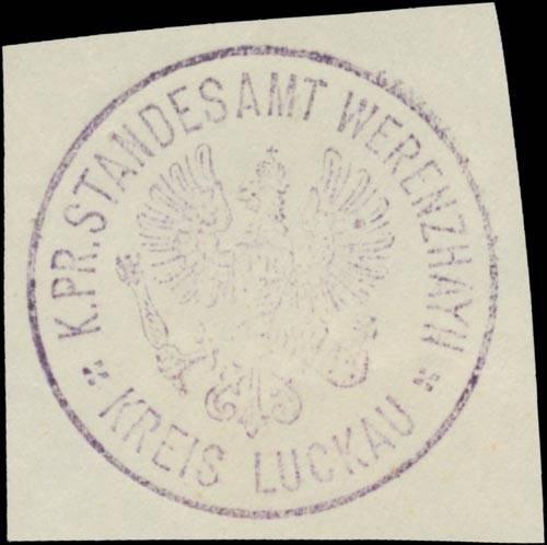 K.Pr. Standesamt Werenzhayn Kreis Luckau/Lausitz