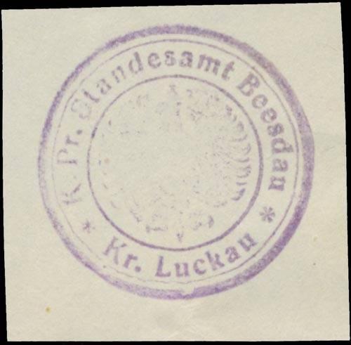 K.Pr. Standesamt Beesdau Kreis Luckau/Lausitz