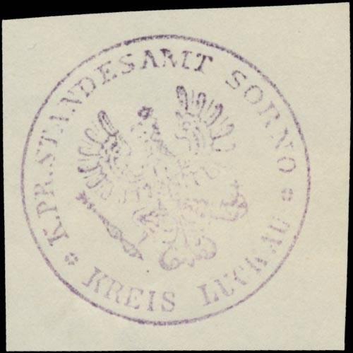 K.Pr. Standesamt Sorno Kreis Luckau/Lausitz