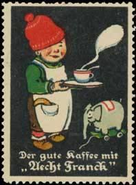 Junge mit Kaffee und Elefant