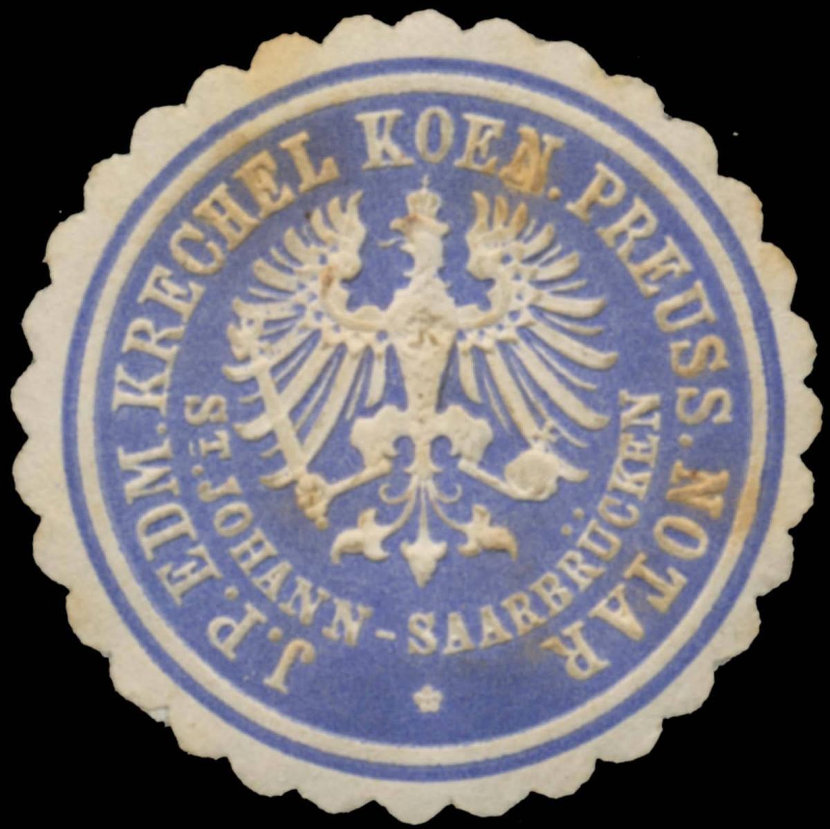 J. P. Edm. Krechel K.Pr. Notar St. Johann - Saarbrücken