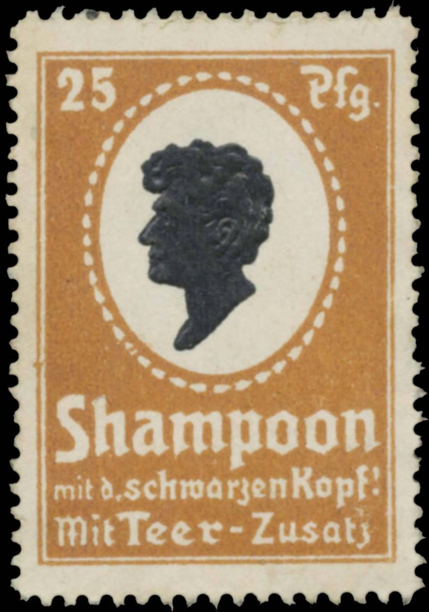 Shampoon mit dem schwarzen Kopf