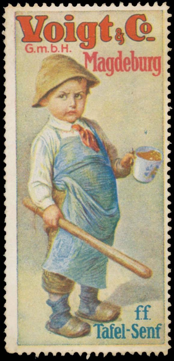 Junge mit Tafel-Senf
