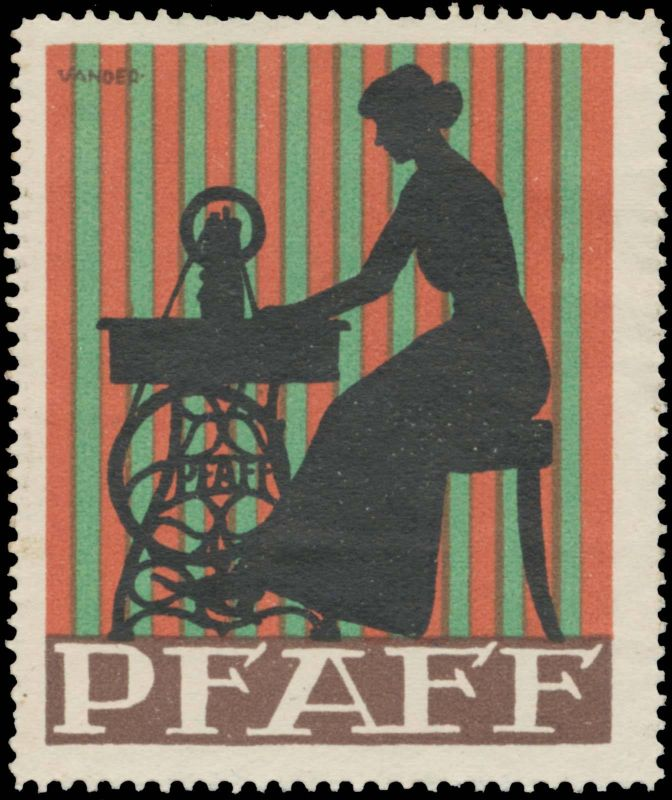 Frau an Pfaff Nähmaschine