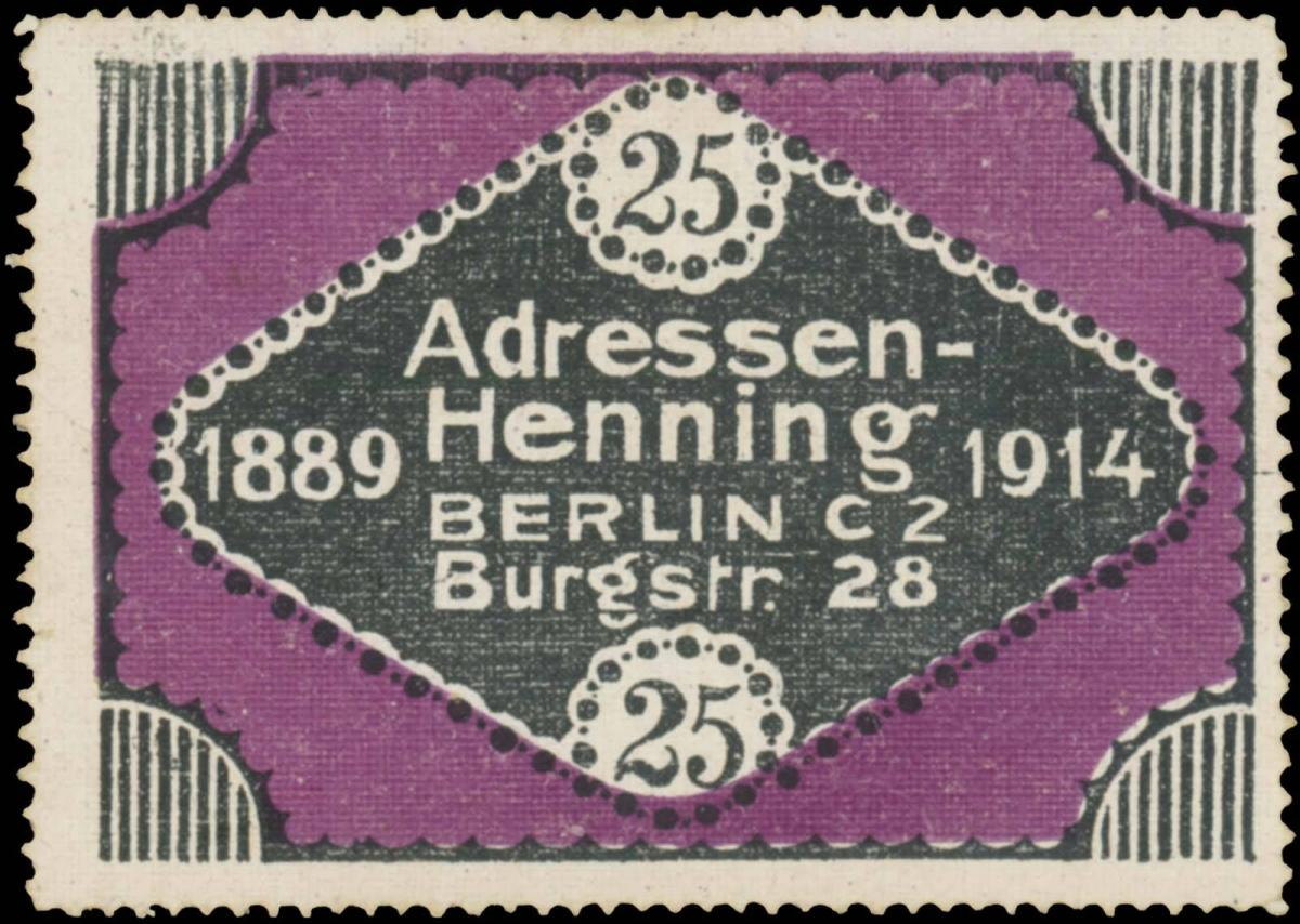 25 Jahren Adressen-Henning