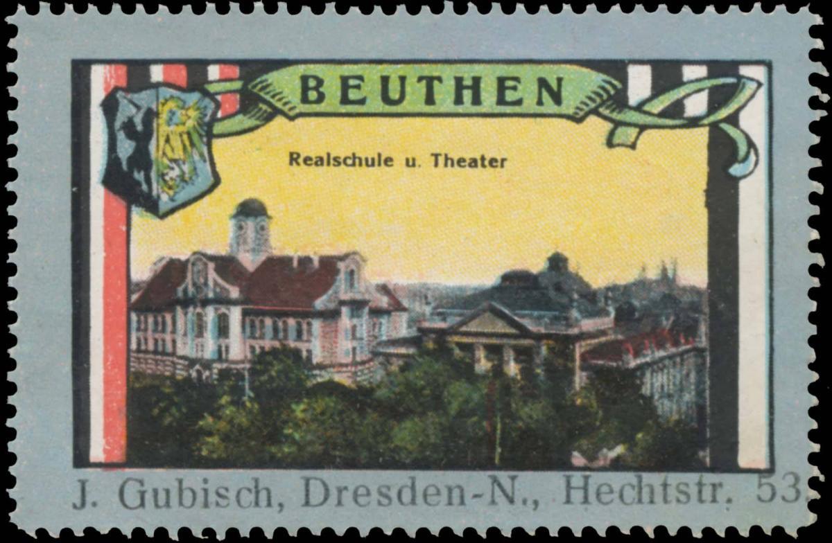 Realschule und Theater in Beuthen