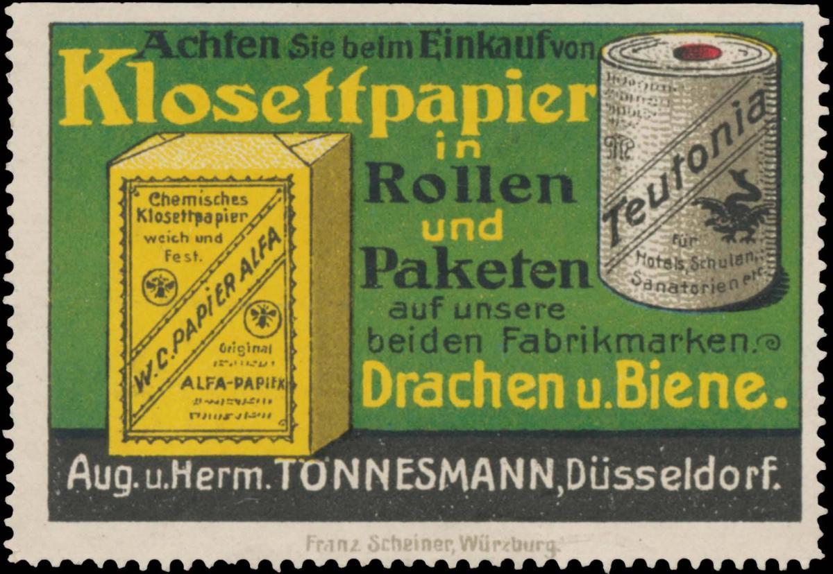 Klosettpapier in Rollen und Paketen mit den Fabrikmarken Drachen und Biene