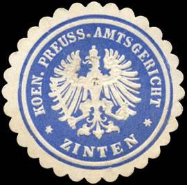 K. Pr. Amtsgericht - Zinten/Ostpreußen